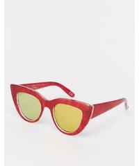 ASOS - Lunettes de soleil yeux de chat à dessus plat avec détails en métal, verres plats et transfert en acétate - Rouge