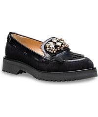 Mocassins Car Shoe femme en cuir veau noir