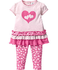 bpc bonprix collection T-shirt + legging (Ens. 2 pces.) en coton bio rose manches courtes enfant - bonprix