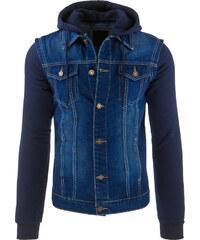 Džínovo-úpletová bunda s kapucí - tmavě modrá Velikost: M