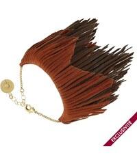 Louise Hendricks Elle - Bracelet ajustable - Orange et chocolat