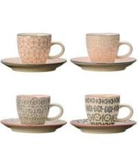Bloomingville Cécile - Lot de 4 tasses 6x5.3cm et soucoupes 11.5cm - multicolore