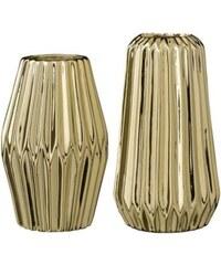 Bloomingville Lot de 2 vases 10x16cm / 10x18cm - doré