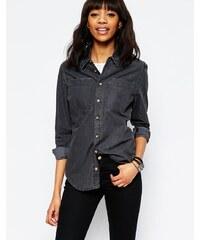 HUSH HUSH Lehká džínová košile černé barvy