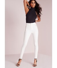 MISSGUIDED Bílé džíny s vysokým pasem na zip