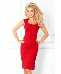 S-a-F Dámské společenské a casual šaty luxusní SHIM.cz 5317 vypasované s krátkým rukávem krátké červené
