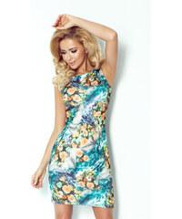 S-a-F Dámské šaty ART 754 SHIM.cz zdobené květováním bez rukávů květované