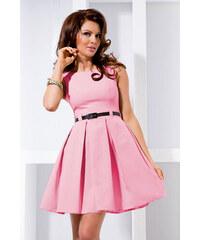 S-a-F Dámské společenské šaty FOLD 65 se sklady a páskem středně dlouhé pastelově růžové