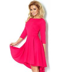 S-a-F Luxusní dámské společenské a plesové značkové šaty NUMOCO LUX 902 s asymetrickou sukní malinové