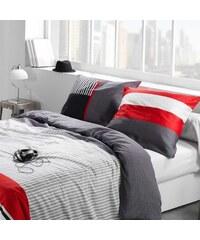 C Design Home Caravelle - Housse de couette et taie d'oreiller - gris rouge
