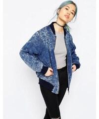 ASOS - Blouson aviateur aspect jean délavé - Bleu