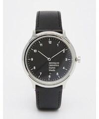 Mondaine - Helvetica - Montre standard 40 mm en cuir - Noir - Noir