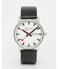 Mondaine - Montre avec affichage de la date et bracelet en cuir 38 mm - Noir - Noir