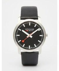 Mondaine - Montre à bracelet en cuir 41 mm - Noir - Noir