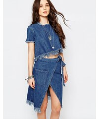 Pull&Bear - Top en jean à franges - Bleu