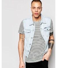 Pull&Bear - Veste en jean sans manches délavé - Bleu