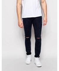 Pull&Bear - Jean super skinny avec déchirures aux genoux - Bleu foncé délavé à l'acide - Bleu