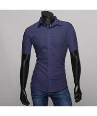 Re-Verse Slim Fit-Kurzarmhemd Unifarben - Dunkelblau - S