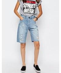 ASOS - Véritable short long en jean coupe masculine - Bleu