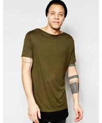 ASOS - T-shirt ultra long à col bateau et ourlet contrastant - Vert