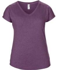 Dámské tričko Tri-Blend - Fialová žíhaná XS