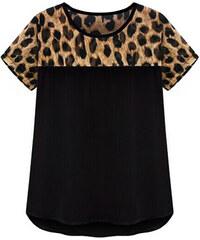 Lesara Shirt mit Leo-Muster - Schwarz - XL