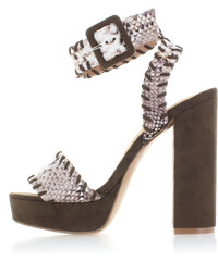 Vanessa Wu Tmavě hnědé sandály Retro
