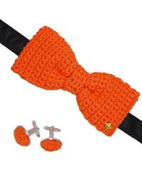 Acrochet'Moi Charmeur - Noeud papillon boutons - orange