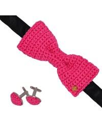Acrochet'Moi Romantique - Noeud papillon boutons de manchette - rose