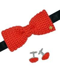 Acrochet'Moi Couchant - Noeud papillon boutons de manchette - rouge