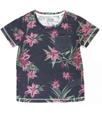 Lesara Jungen-T-Shirt mit Blumen-Muster - Schwarz - 110