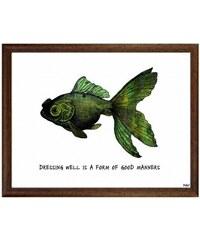 Industrial style, Obraz ryby v rámu 20x25cm (1099)