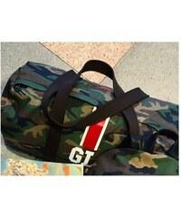 Mia Bag Army (unisex ) taška - válec červený pás, Barva červená