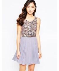 Virgos Lounge Virgo's Lounge - Skater-Kleid mit Blüten und verziertem Oberteil - Violett