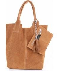 Genuine Leather Kožené kabelky Shopperbag přírodní semiš zrzavá