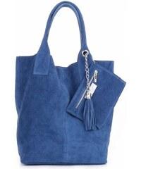 Genuine Leather Kožené kabelky Shopperbag přírodní semiš Modrá