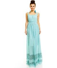 LM moda Letní šaty jemné zelené s krajkou HS683