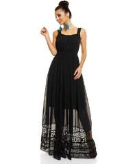 LM moda Letní šaty jemné černé s krajkou HS682
