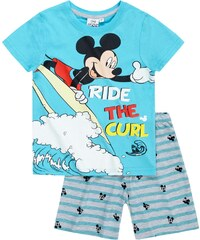 Disney Mickey Shorty-Pyjama blau in Größe 98 für Jungen aus 100% Baumwolle Graumelange: 60% Baumwolle 40% Polyester