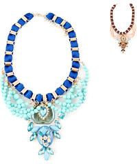 Lesara Statement-Halskette mit Stoff-Band - Blau