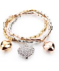 Lesara 3-teiliges Armband-Set Herz