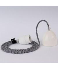 DOMESI Textilní kabel s objímkou - 3 m (černo/bílá)