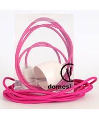 DOMESI Textilní kabel s objímkou - 3 m (růžová)