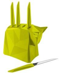 Koziol PABLO stojan na nože + 4 nože na steak, (zelená)