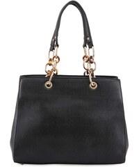 Černá kabelka se zlatými řetězy Milan Fashion