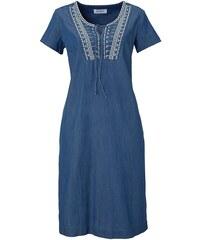 John Baner JEANSWEAR Džínové šaty s výšivkou, krátký rukáv bonprix