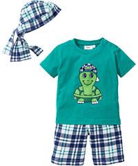 bpc bonprix collection T-shirt + bermuda + bandana (Ens. 3 pces.) vert manches courtes enfant - bonprix