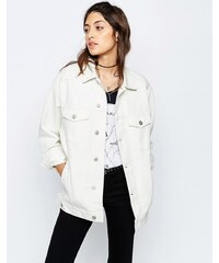 ASOS - Veste en jean style girlfriend - Blanc cassé - Blanc