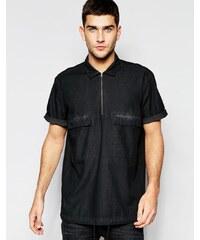 ASOS - Chemise en jean style militaire à enfiler avec manches courtes et 2 poches - Noir