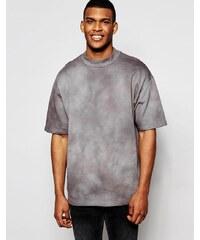 ASOS - Sweat long oversize à manches courtes et effet tie-dye - Gris